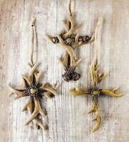 """Inspirational Antler Cross Ornaments, Set of 3, 5"""" Tall, by Manual"""