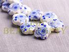 New 10pcs 15mm Flower Porcelain Ceramic Loose Spacer Beads Findings Deep Blue