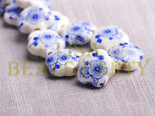 10pcs 15mm Flower Porcelain Ceramic Loose Spacer Beads Findings Deep Blue