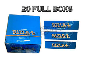 20 BOX OF RIZLA BLUE KING SIZE SLIM CIGARETTE SMOKING ROLLING PAPERS ORIGINAL