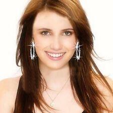 AQX001-Gold Filled 2 Row Crystal Gemstone 45mm Big Silver Hoop Earrings Korean