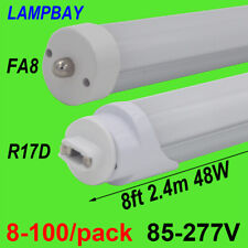 8-100/pack LED Tube Light 8ft, 2.4m 48W F96 Bulb FA8 R17D(HO) bar lamp 110V-277V