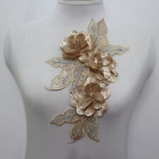 New listing 1Pcs Leaves Flowers Chiffon Ab Crystal Beaded Applique Motif Muscle Color Sew On