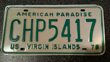 vintage rare  Car  License Plate    US VIRGIN ISLANDS   Caribbean