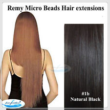 """20"""" 100% Indian Remy Micro Bead Ring I Tip 50g Hair extensions #1b Natural Black"""