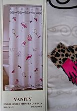 Paris Chic Shower Curtain Set 15pc Hooks Wastebasket Tissue Girly Allure Vanity