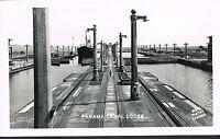 Panama ~ RPPC Real Photo Postcard ~ Ship In Panama Canal Locks