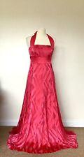 Monsoon Silk Maxi Dress 12 Red Halter Neck Burn Out Devore Occasion Wedding