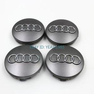 4X60MM 2.36inch Audi Rim Wheel Center Replacement Caps Gray Chrom Emblem Logo