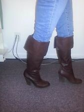 Jessica Simpson Tall Sexy Knee High Brown Leather Boots 8M EUC