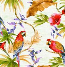 Wallpaper Bright Tropical Palm Leaves and Parrotts on Aged White Background