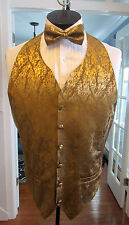 MENS VINTAGE FORMAL VEST GOLD LAME MATCHING BOW TIE SIZE LARGE NB4