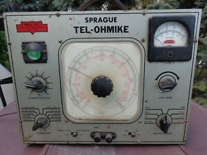 Vintage Sprague Tel-Ohmike TO-3 Capacitor Bridge/Leakage Tester Powers Up