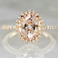 2.3c OVAL CUT HALO MORGANITE .40c DIAMOND ENGAGEMENT RING PINK ROSE GOLD NATURAL