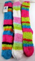 3 Pairs Womens Teens Cozy Multicolor Fuzzy Knee High Socks Shoe Size 4-10 L308