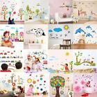 Owl Animal Wall Stickers Monkey Jungle Tree Nursery Deer Baby Room Decal Mural
