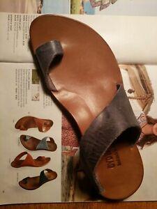 "Cydwoq Hilary Thong Toe Ring Handmade ""Denim Blue"" Sandals size EU 39 US 9"