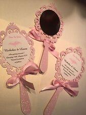 Disney Style Fairytale Hand Held Mirror personalised wedding invitations/ STD