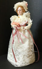 Victorian Porcelain Lady Tree Topper Cottage Chic Ivory Lace Wedding Dress 10 In