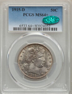 """1915 D Barber Half PCGS 64 + """"CAC"""" Sticker FREE SHIPPING US ONLY"""