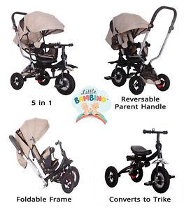 5 in 1 Little Bambino Pushchair Tricycle Trike- Kids Multifunction Trike UK
