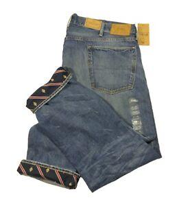 Polo Ralph Lauren Men's Blue Contrast Cuffs Varick Slim Straight Jeans