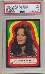 1977 Charlie's Angles Stickers #35 Jaclyn Smith Kelly PSA 7 NM Set Break Pop 1