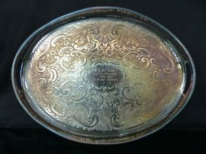 ornate oval silverplate serving tray  sheffield type apex with inscription