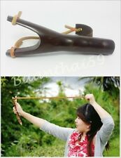 THAI SPORT SLINGSHOT CATAPULT WOODEN HUNTING OUTDOOR HANDMADE LEATHER RUBBER NEW