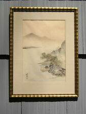 Vintage Bamboo Design Gold Gilt Picture Frame Mountain~Water Scene on Silk 14~19