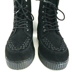 T.U.K. Black Suede VIVA II Boots Creepers Men's US 8 Women's US 10 EU 41 VEUC! *