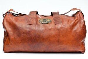 "25"" GVB Designer Bag Leather Duffle Travel Men Gym Luggage Overnight Vintage"