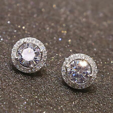 Women's Round Crystal Zircon Ear Stud Hoop Earrings 925 Silver Fashion Jewelry