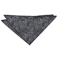 Black & Silver Hanky Handkerchief Woven Floral Royal Paisley Accessory by DQT