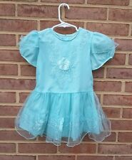 Vintage Girls Party Dress Mint Green Ruffles Sleeves Size 4 years
