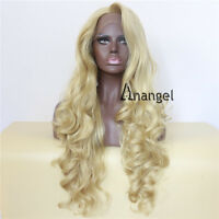 Long Wavy Blonde Synthetic Wig Lace Front Wigs Glueless Heat Resistant Hair