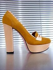MORI ITALY PLATFORM HIGH HEELS PUMPS SCHUHE SHOES SUEDE LEATHER YELLOW GIALLO 40