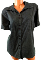 Cato black polka dots button down spandex stretch women's short sleeve top 22/24