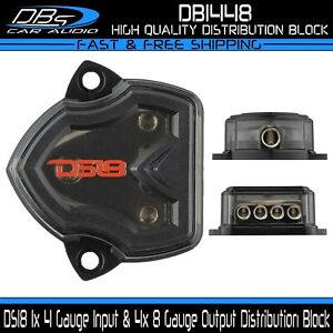 DS18 Power Ground Amp Distribution Block 1x 4 Gauge Input & 4x 8 Gauge Output