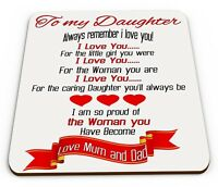 To My Daughter Always Remember I Love You! Love Mum & Dad Glossy Mug Coaster