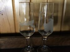 "2 New Champagne Flute Glasses - 8 1/4"" Tall Etched With Sharks & A Buffalo"