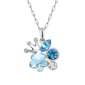 Women'S Silver Crown Charm Sea Blue Zirconia Pendant Necklace Jewelry Gift