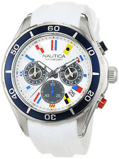 Nautica Men's NST 12 Chrono 100m Stainless Steel White Silicone Watch NAD16536G