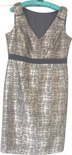 """BLACK & GOLD DRESS WITH """"SLIMMING"""" UNDERSKIRT - WORN ONCE - SIZE 14"""
