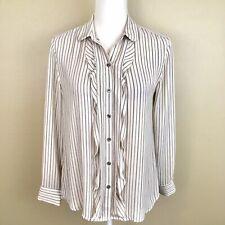 Loft Mp Shirt Off White Black Stripe Ruffle Button Down Long Sleeve Top I3