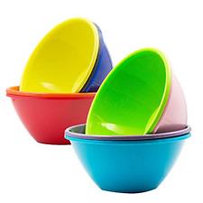 New listing Plastic Bowls Large Cereal 6.7 inch Dishwasher Safe Set of 9 in 9 Assorted Color