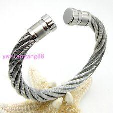Women Men's Heavy 316L Stainless Steel Cable Wire Silver Cuff Banlge Bracelet
