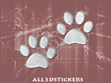 3D Sticker Decal Resin Domed Paws Adhesive Decal  Chrome