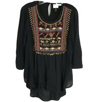 Anthropologie Top Black Embroidered Beaded 3/4 Sleeve Blouse HD in Paris Size 0