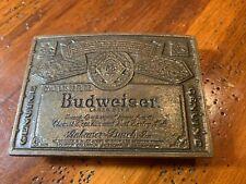 Vintage Square Budweiser Brass Belt Buckle 1980s !